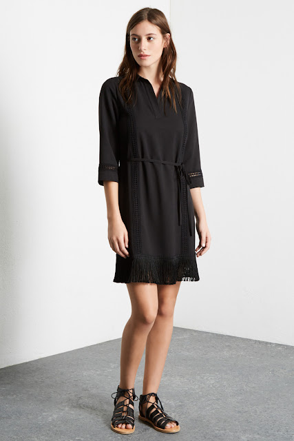 warehouse black tassel dress, warehouse black fringed dress,