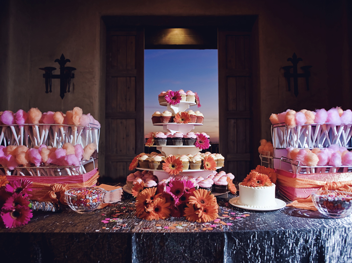Candy Stations Using It As A Backdrop And To Add Height Hanging From Tree For Guests Take Home Little Balls Of Cotton In Cupcake Holders