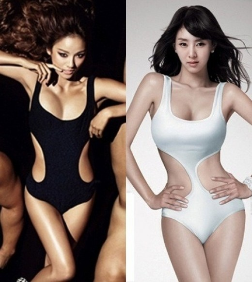 Recently, an online community board posted Hyori and G.NA's swimsuit photos ...