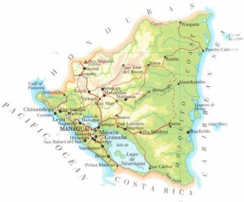 Nikaragua - Hartat gjeografike në Nikaragua