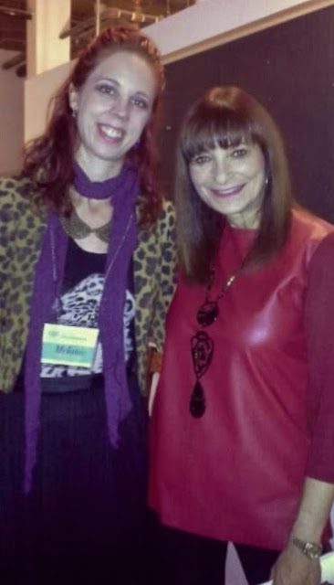 the purple scarf creator mealnie and Jeanne Beker at Spark sessions, Canada's First and only blogger conference in Toronto
