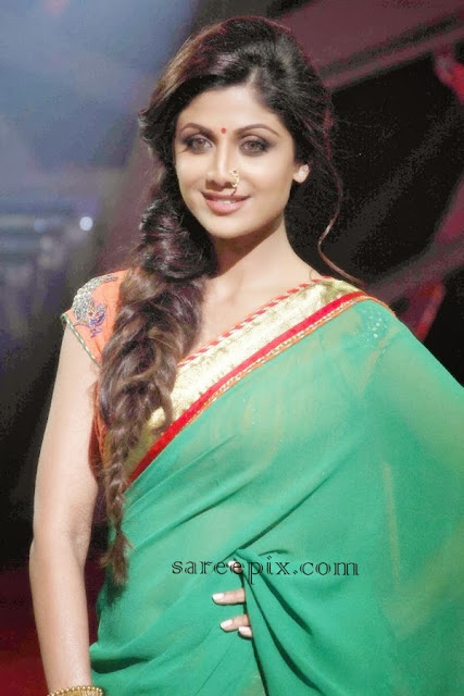 Shilpa shetty in green georgette saree