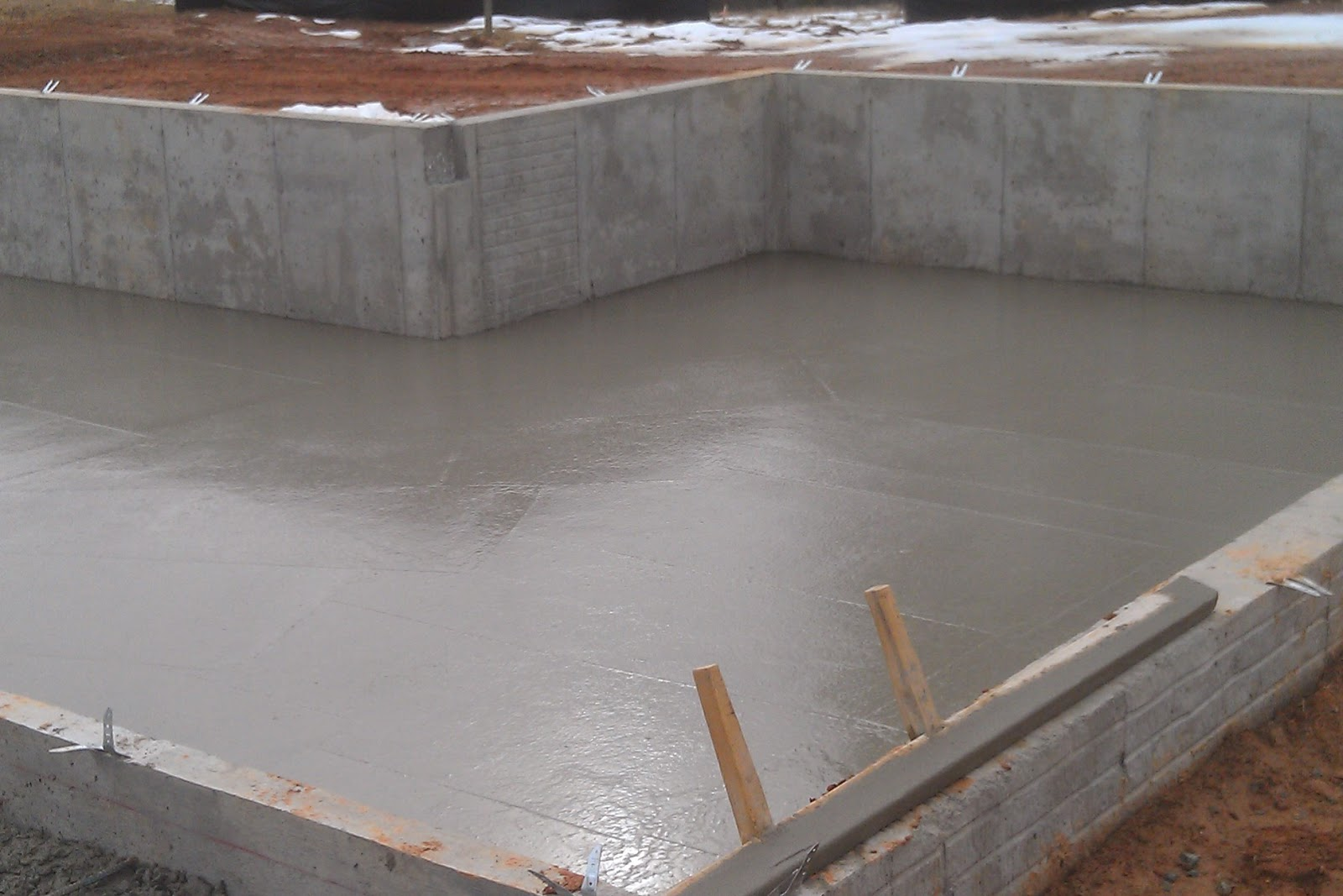 March 11 foundation pouring complete our new home at for Concrete crawl space floor