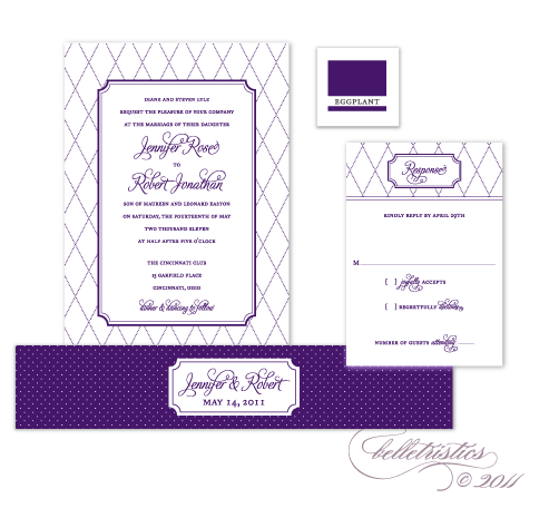 eggplant purple printable diy wedding invitation design