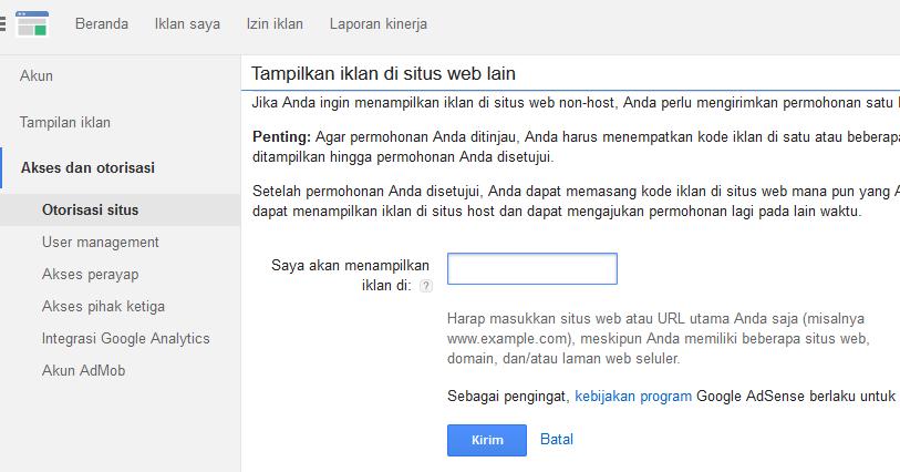 otorisasi google adsense untuk situs non-hosted