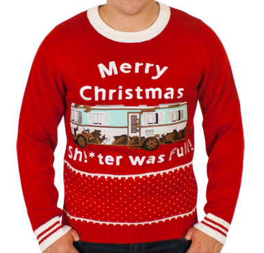 this national lampoons christmas vacation sweater features cousin eddies rv with the text shter was full also features cousin eddie himself