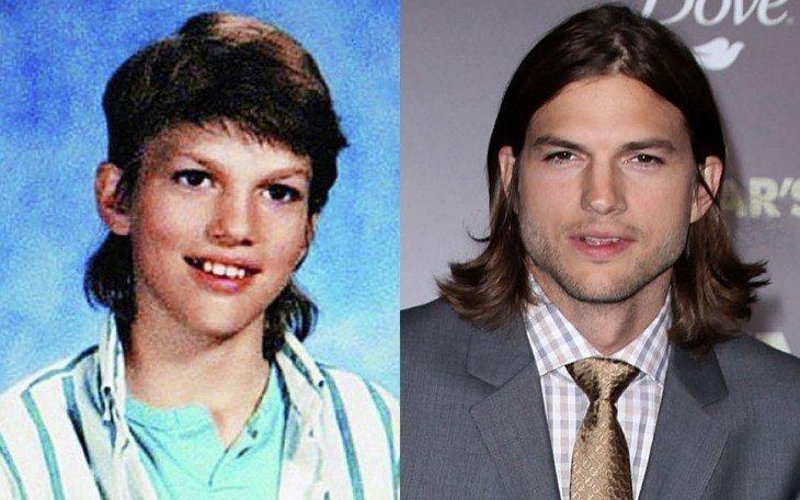 Ashton Kutcher  ashton kutcher antes de ser famoso en su foto del anuario