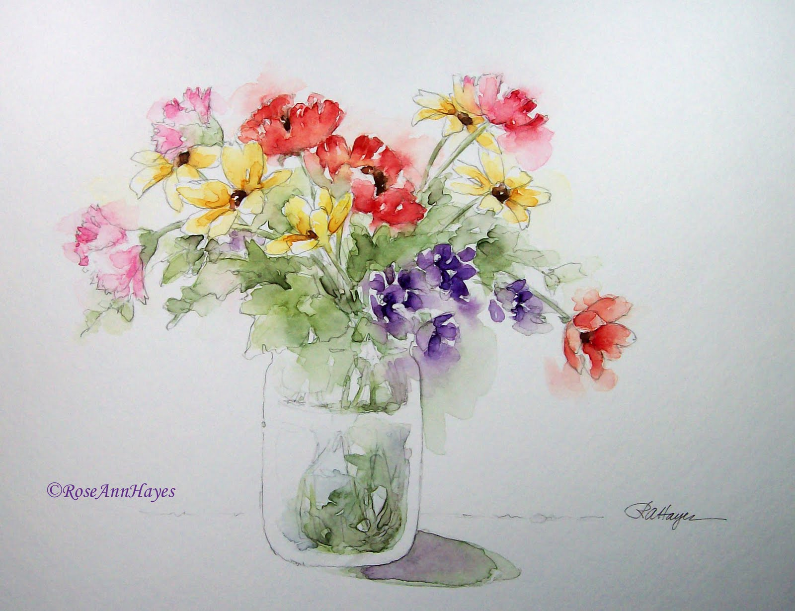 The gallery for flower watercolor painting for beginners for Simple flower paintings for beginners