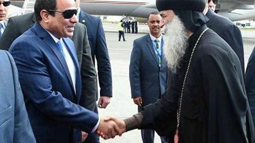 نيافة الأنبا بيمن يستقبل الرئيس بأديس أبابا