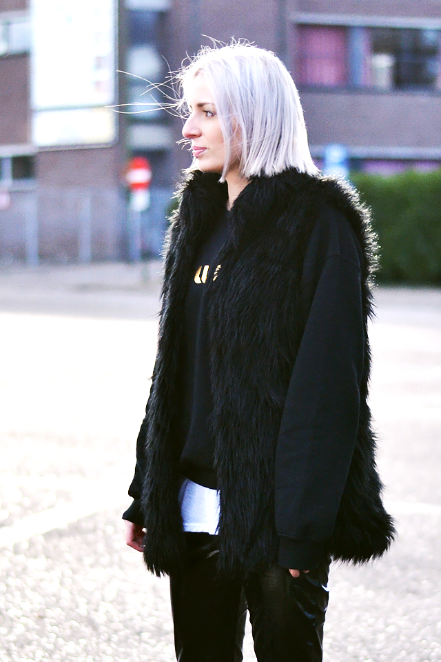 Faux fur waist coat, bershka, black sweatshirt, the outnet, layers, grey hair
