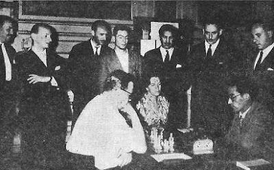 Encuentro de ajedrez Wexler-Bartis, con Panno, Foguelman y Martín de espectadores