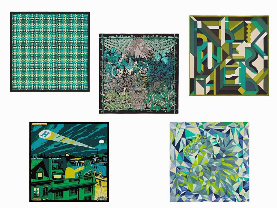 Five green Hermes scarves from Spring/Summer 2015