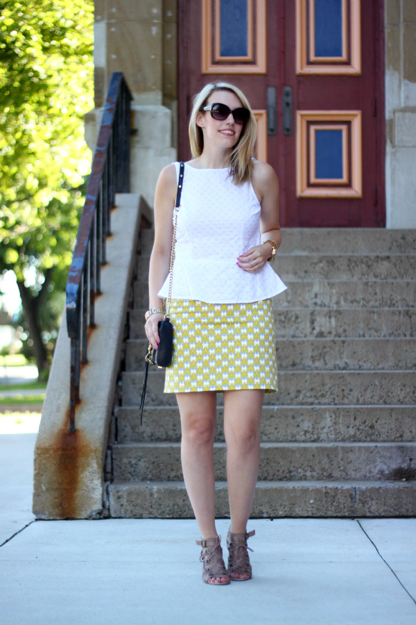 milly for banana republic, printed pencil skirt, banana republic pencil skirt, white peplum, canadian fashion blogger