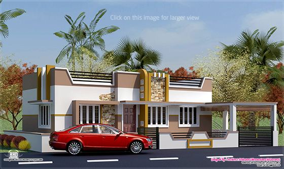 800 minimalist single floor house kerala home for Single floor house elevations indian style