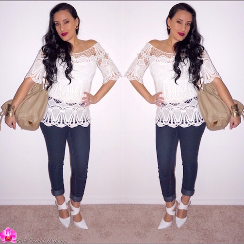 OOTD-Casual-White-Crochet-Scallop-Top-PinkOrchidMakeup