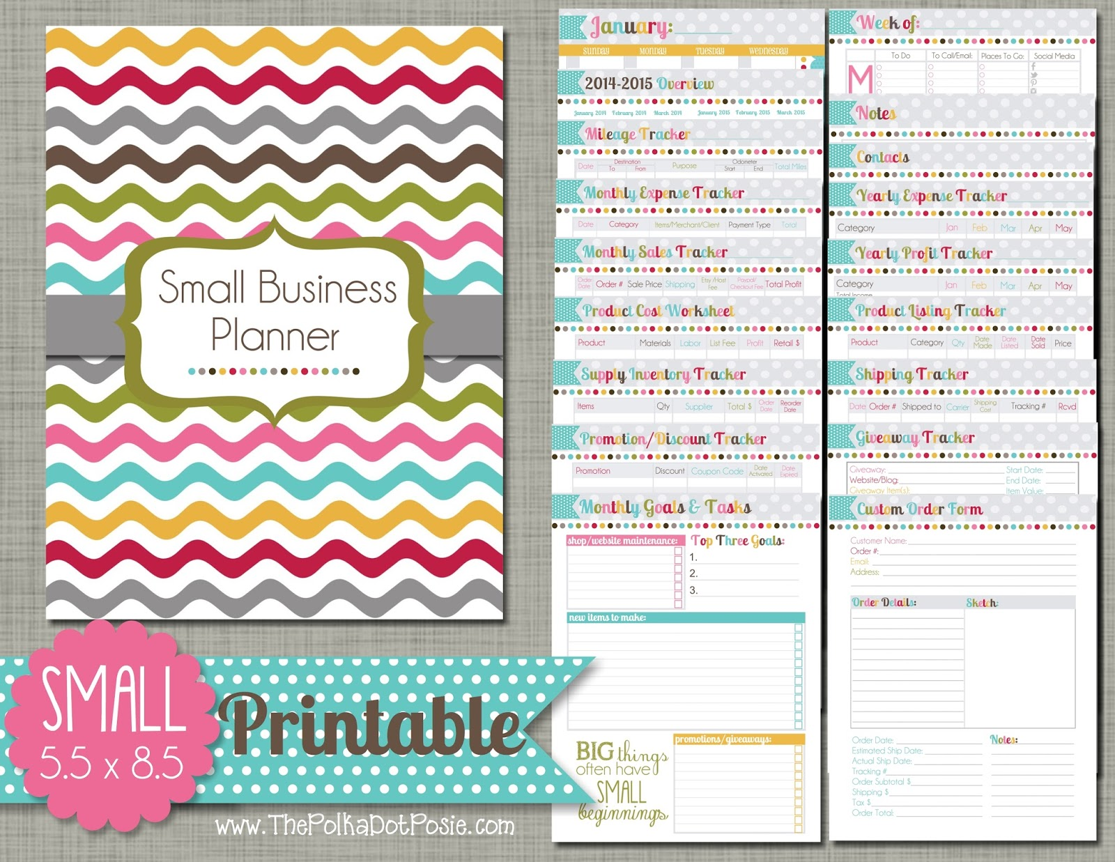 Large Printable Planner The Polka Dot Posie