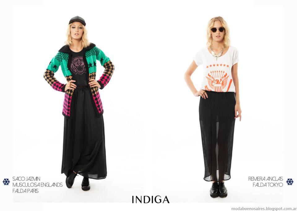 Maxifaldas, remeras y sacos tejidos ropa de moda 2014 colección Indiga otoño invierno 2014.