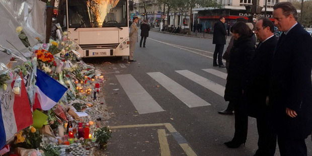 Francois Hollande, David Cameron visit Paris concert hall that was attacked