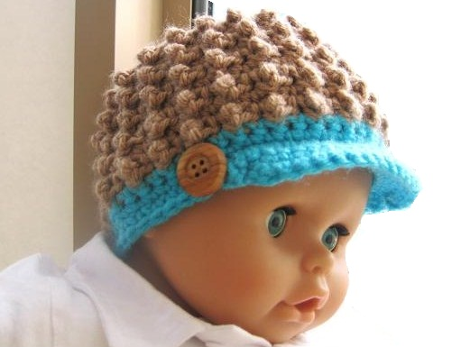 Baby Boy Newborn Hat Crochet Pattern : Crochet Dreamz: Visor Beanie Crochet Pattern for Girls and ...