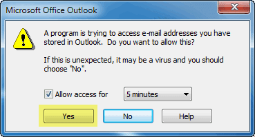 prompt to allow access to outlook on your pc