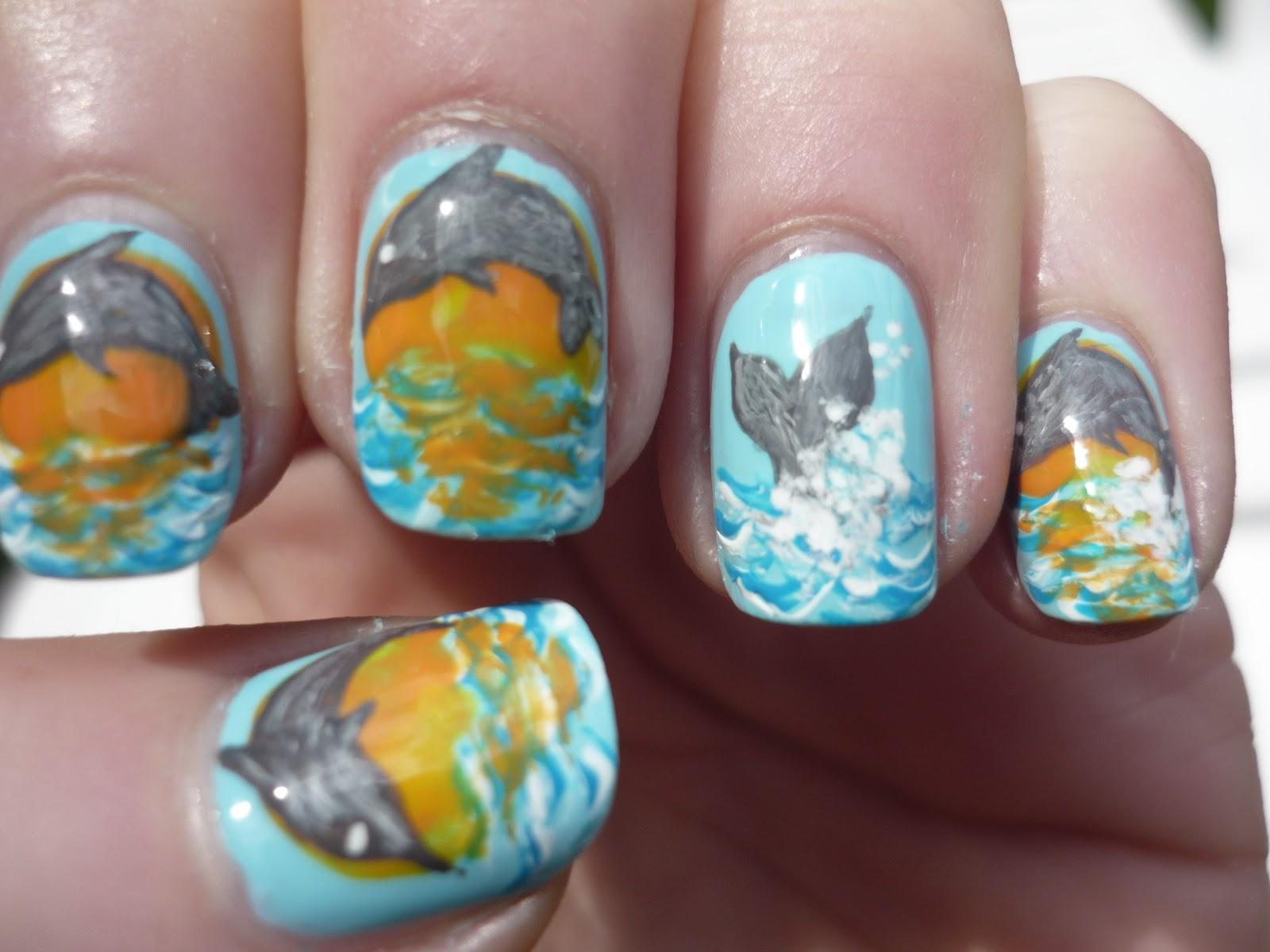 Juliatmll nail art jumping dolphin nail art prinsesfo Image collections