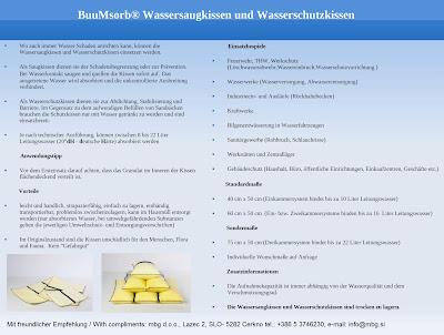 BuuMsorb® Wassersaugkissen und Wasserschutzkissen