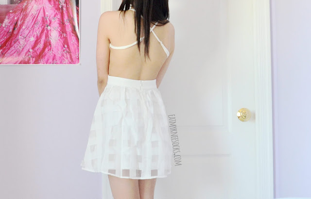 SheIn's backless flare dress is the perfect white summer dress, with a cute design that's sure to turn heads!