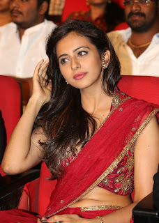 Actress Rakul Preet Singh  Pictures in Red Saree at Tiger Audio Release Function  4