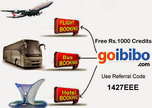 Get Free Rs.1000 to book air tickets, bus ticket and hotels with goibibo app