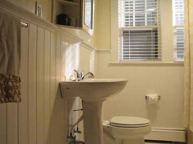 The farmer 39 s daughter happy april for Beadboard wainscoting bathroom ideas