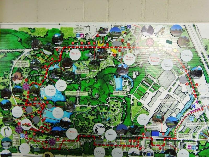 Répartition géographique des différentes oeuvres dans le jardin botanique