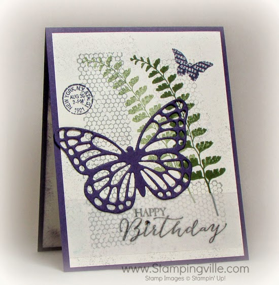 Happy Birthday card featuring Butterflies Thinlits Dies and Butterfly Basics stamp set.