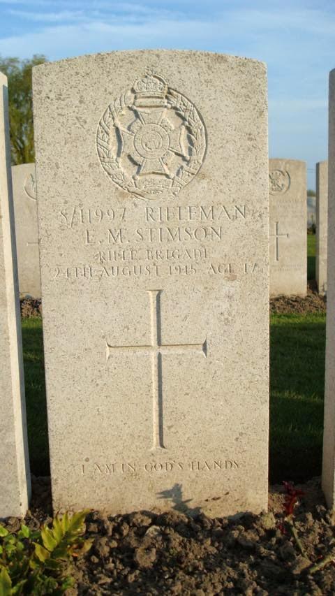 Eric Malcolm Stimson  (Lijssenthoek Cemetery website)