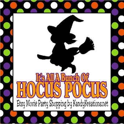 Celebrate Halloween watching Hocus Pocus with your witches.  Here are some great party favors, party decorations, printables, invitations, and party ideas to help you throw the most magic movie night of the night.