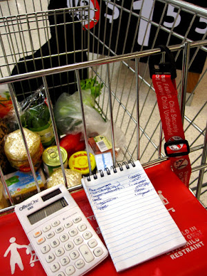 Supermarket trolley with groceries in it, a calculator and grociery list on the child seat. Behind the trolley is a sign which says '1/2 price: $1.55)
