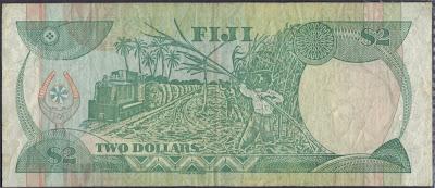 Fiji 2 Dollar 1988 P# 87