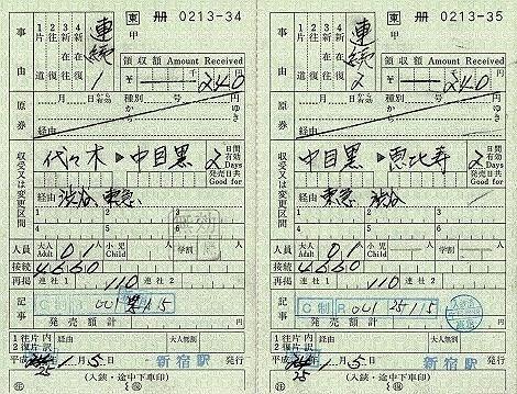 JR東日本 出札補充券6 東急→JR→東急の連続乗車券 新宿駅発行