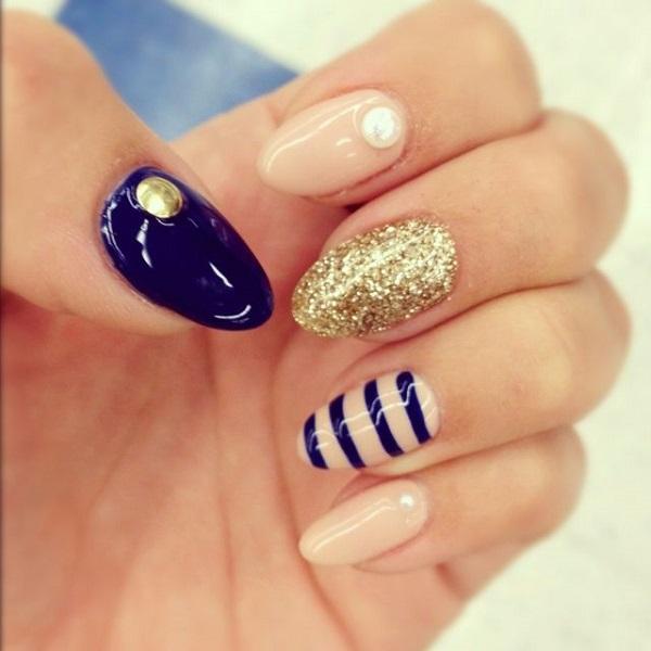 Nails Design Ideas nail designs ideas glitter polish maroon french design Almond Shaped Nails Design Ideas Bmodishjpg 600