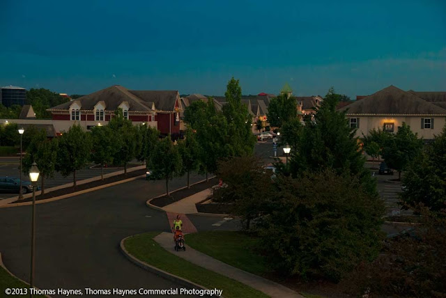 Outlets mall, Gettysburg, Penn., twilight photograph