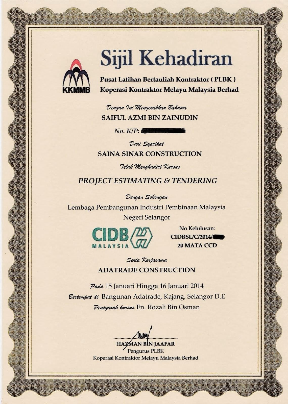 contoh sijil kursus cidb yang dikeluarkan..