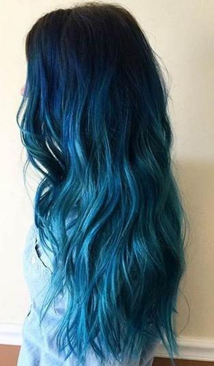 warna rambut ombre biru laut