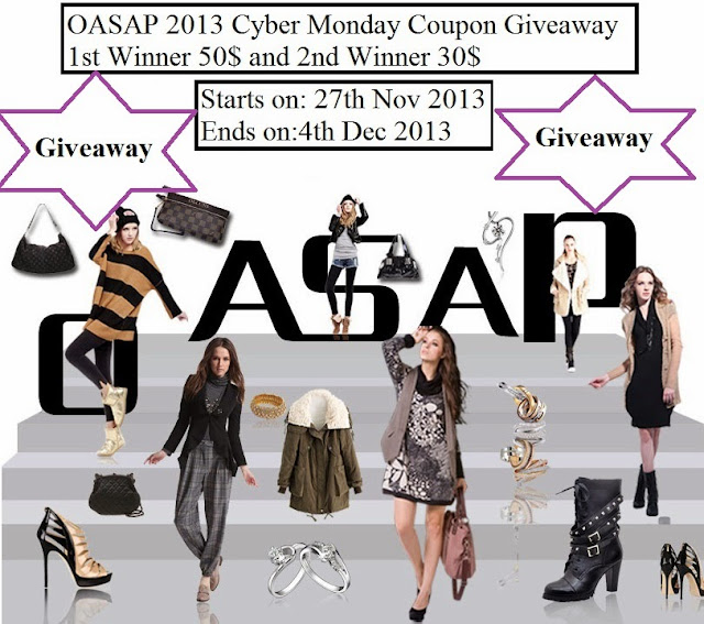 Win Oasap Cyber Monday Coupon Giveaway(1st Winner 50$ and 2nd Winner 30$)