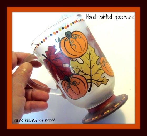 Autumn Leave and Pumpkin hand painted coffee or tea cup
