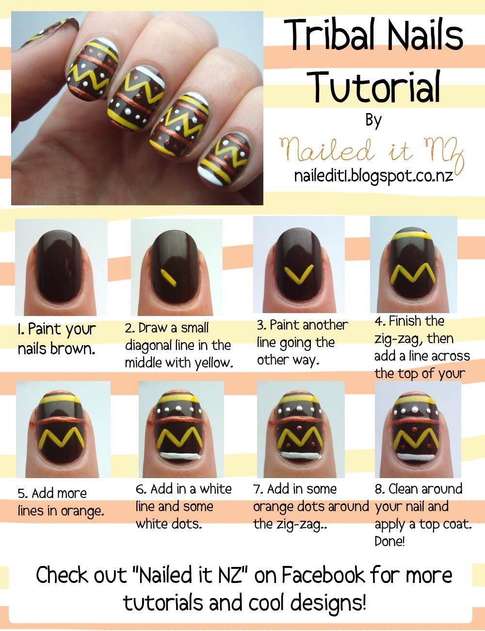 Nail art for short nails #7 - Tribal nails