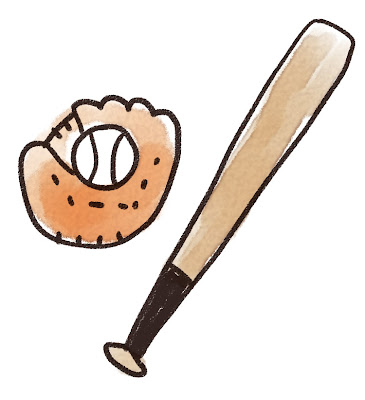 野球のバットとグローブのイラスト(スポーツ器具)
