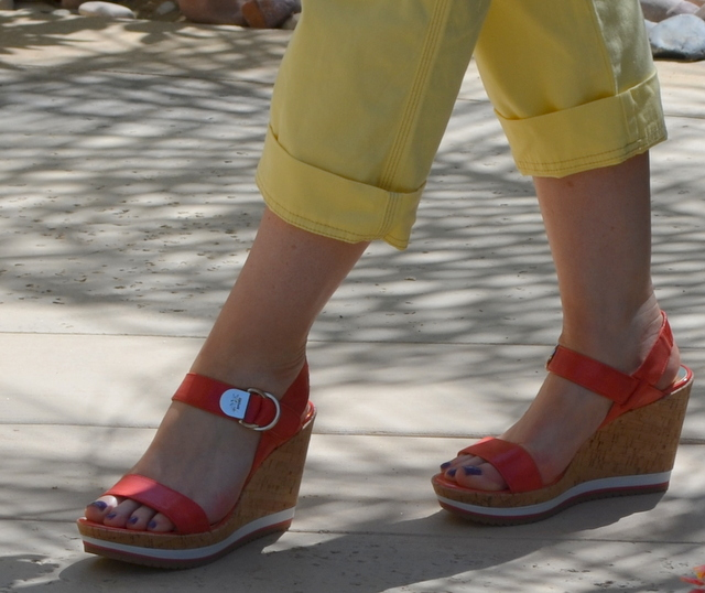 AK Anne Klein wedge sandals in orange from DSW