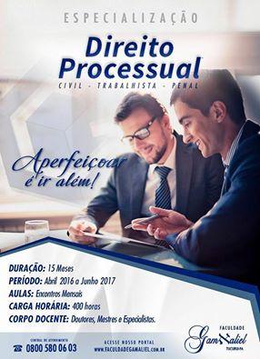 Faculdade Gamaliel Informa: Especialização em DIREITO PROCESSUAL, não perca esta oportunidade iníci