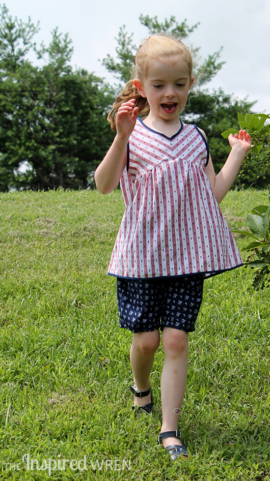 Cut yoke stripes on the bias for a classic striped blouse. Sewing pattern from Sew Chic Kids   The Inspired Wren