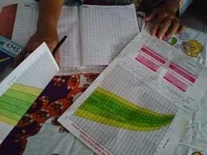 grafik timbang badan pada kartu KMS Posyandu