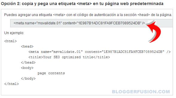 Verficar Propiedad con MetaEquiqueta en Bing